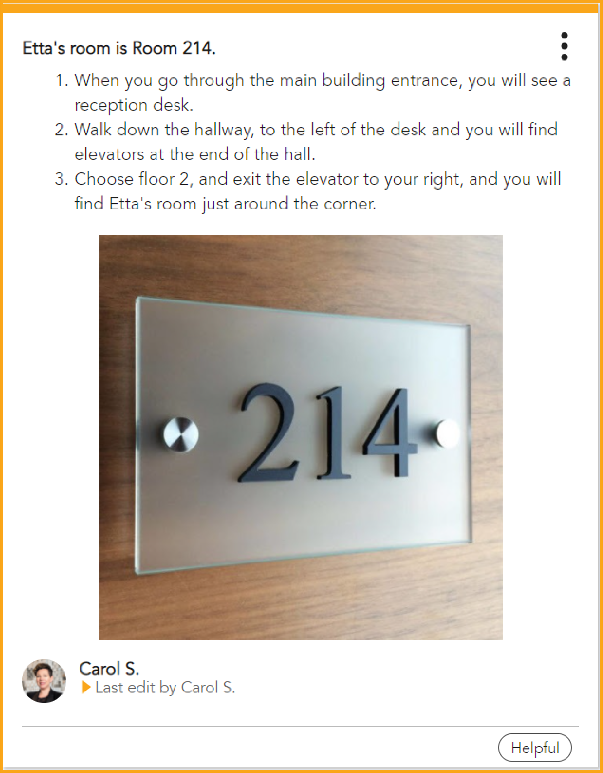 How to find Etta's Room